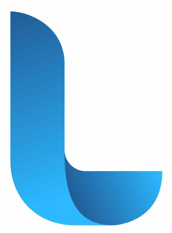 Large royal blue colored curved L on white background - company logo