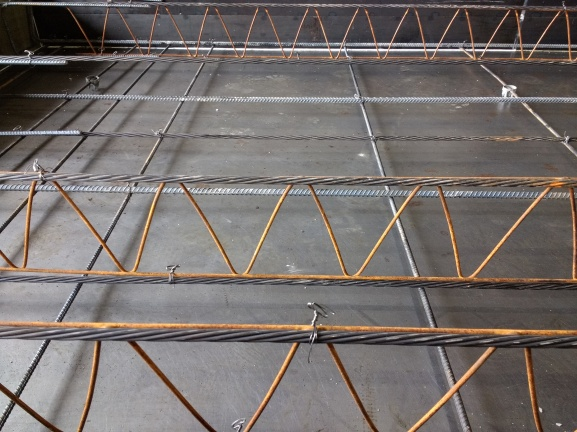 Inside a slab - showing rebar and metal ties